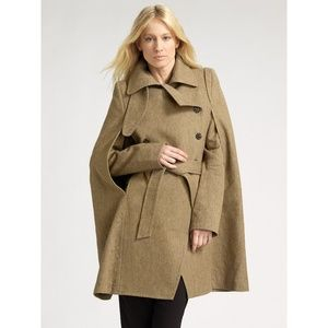 Ann Demeulemeester Natural DB Belt Cape Coat Sz 36